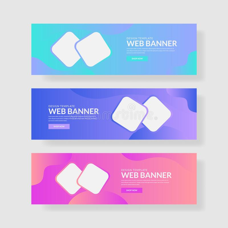 Website banner ui ux. Colorful geometric background. Fluid shapes with trendy gradients stock illustration