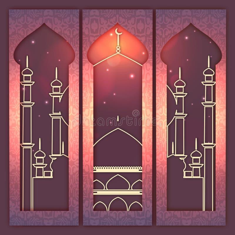 Website banners set for Eid Mubarak celebration. vector illustration
