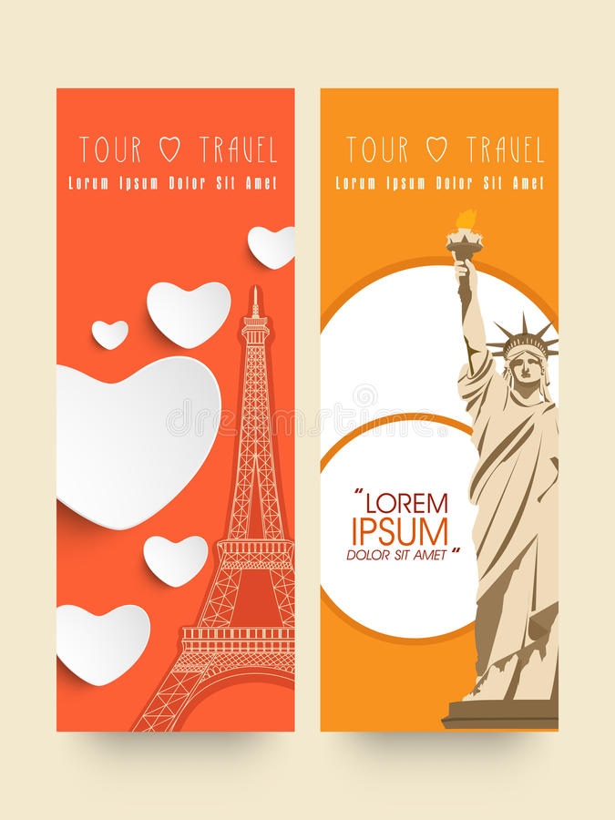 Website banners for tour and travels. royalty free illustration