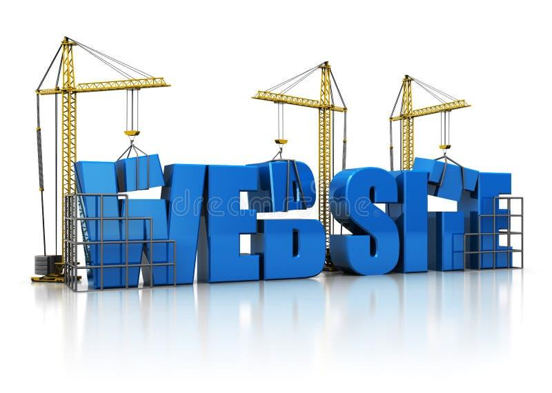 Website building. 3d illustration of cranes building website sign, over white background