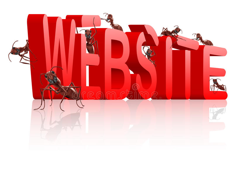 Website building under construction www web site. Www web site under construction website development internet page building ants creating red 3D word royalty free illustration