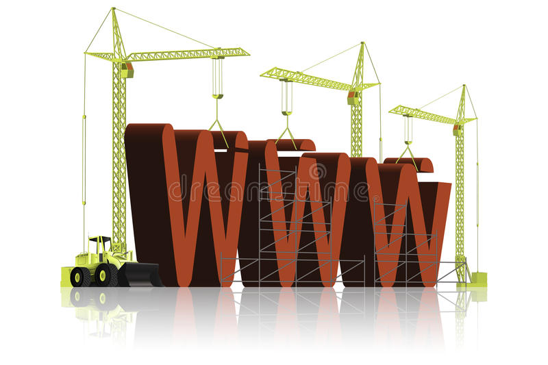 Website building WWW under construction. Tree tower cranes building website build WWW word in big 3D letters no connection web site page or webpage under