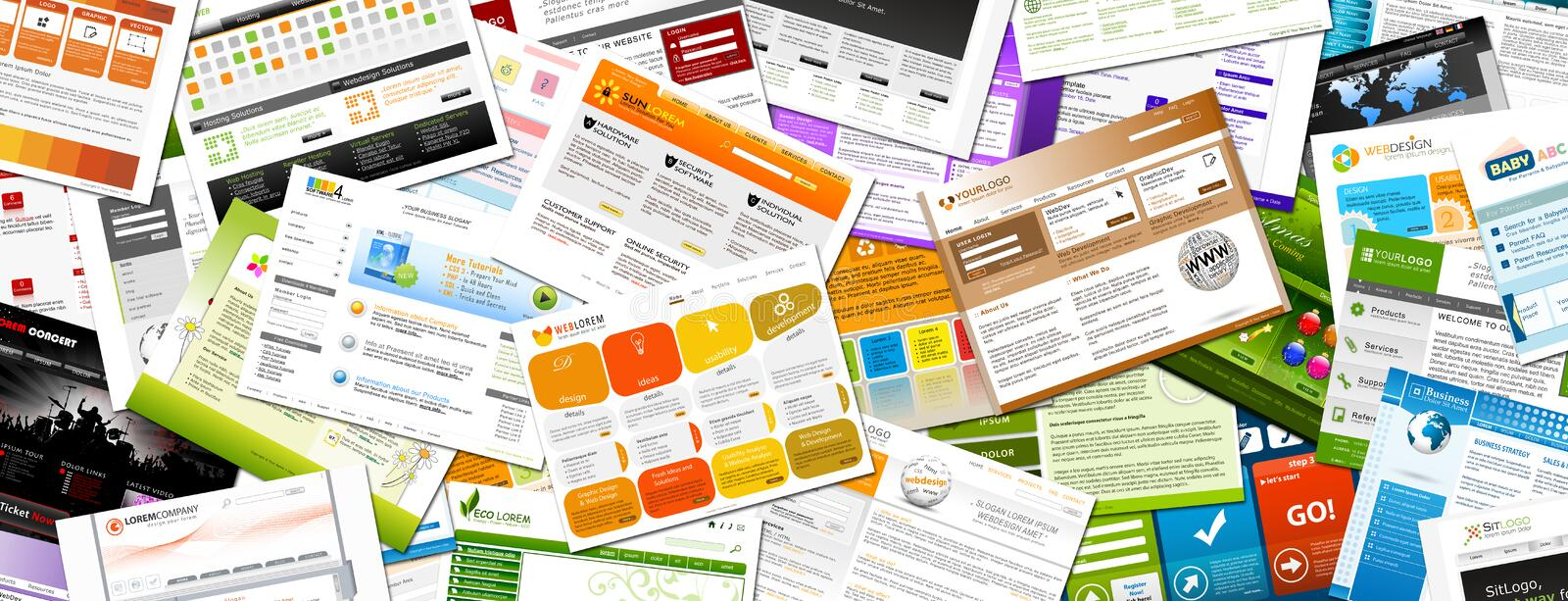 Website - Colorful Webdesign Templates Panorama - Banner. Website - Webdesign Templates Panorama Backdrop - Horizontal Colorful Background Banner royalty free illustration