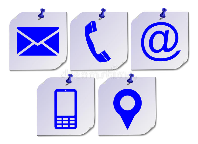 Website Contact Us Icons On Post It royalty free illustration