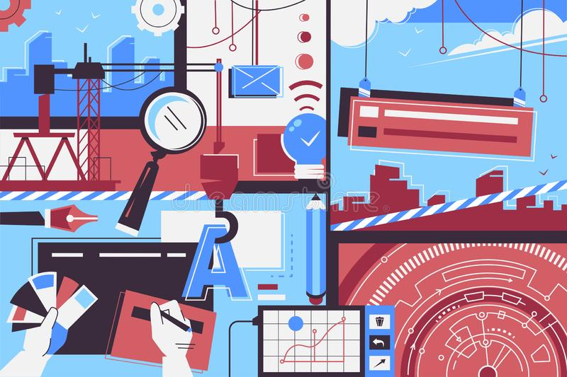 Website creation items background of people, designer equipment and time. royalty free illustration