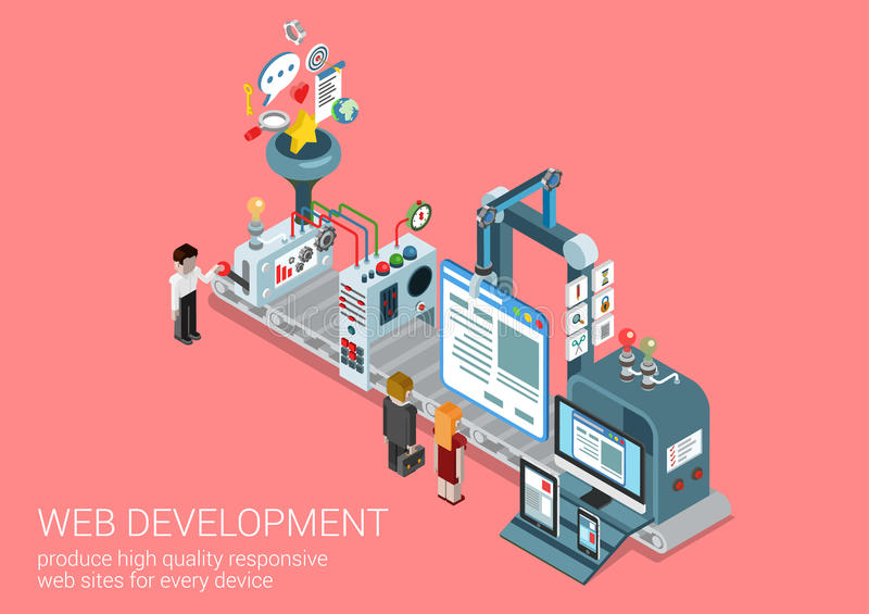 Website creation, web development process flat 3d concept. Process web development site production plant concept flat 3d isometric icon collage composition