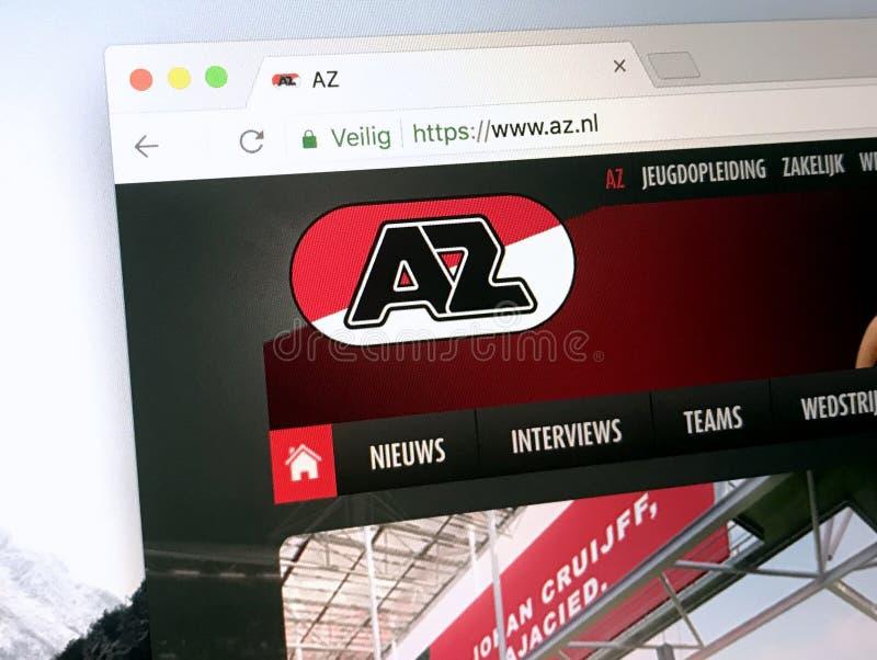Website des niederländischen Fußball-Clubs AZ Alkmaar lizenzfreies stockfoto