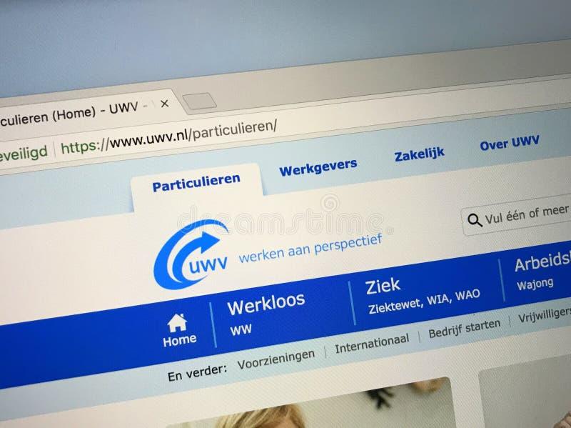 Website des niederländischen Sozialsicherheitsbüros und des Arbeitsamtes UWV lizenzfreies stockfoto