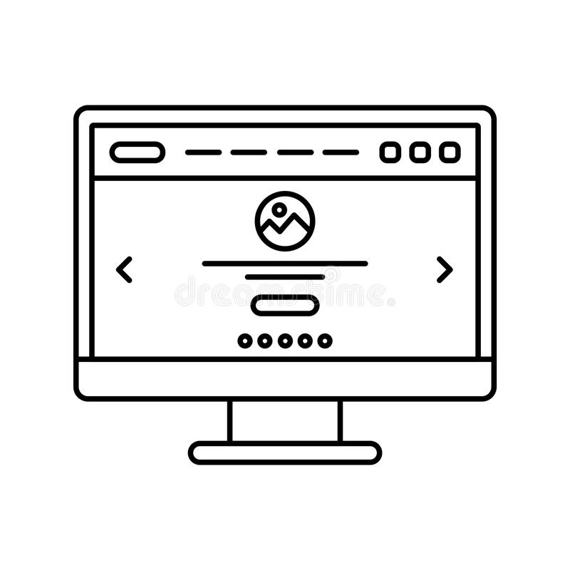 Website design in computer screen lined icon. Landing page on monitor line icon. Web page user interface. Isolated vector illustration