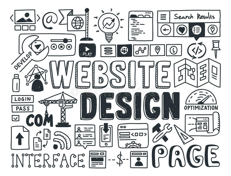 Website design doodle elements stock illustration