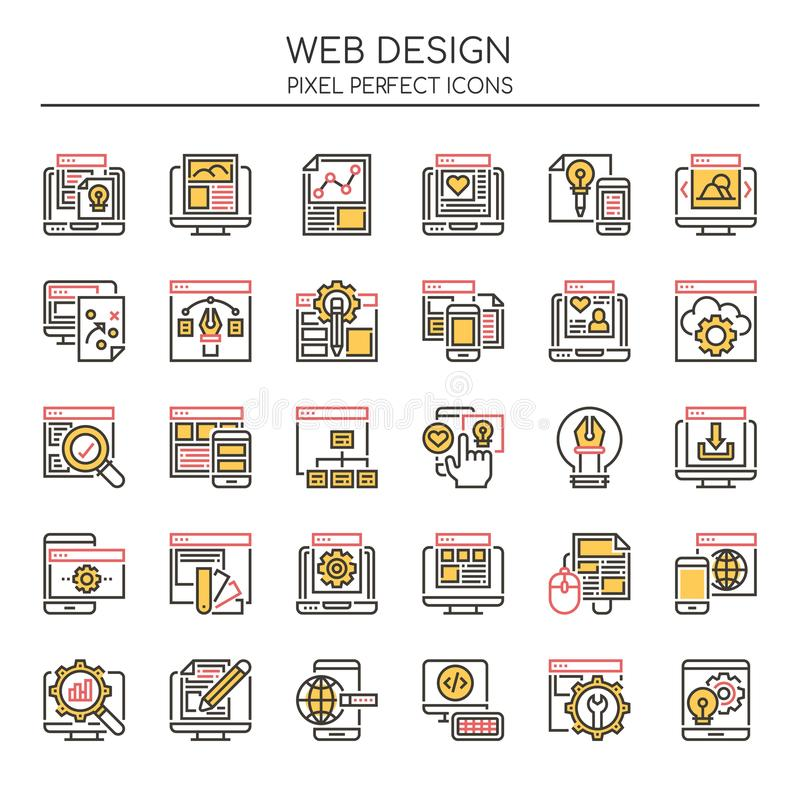 Web Design Elements , Thin Line and Pixel Perfect Icons stock illustration