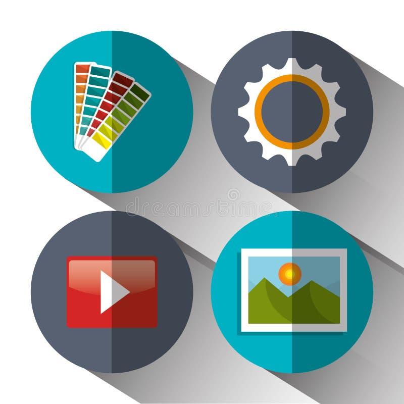 Website design and hosting. Illustration graphic vector illustration