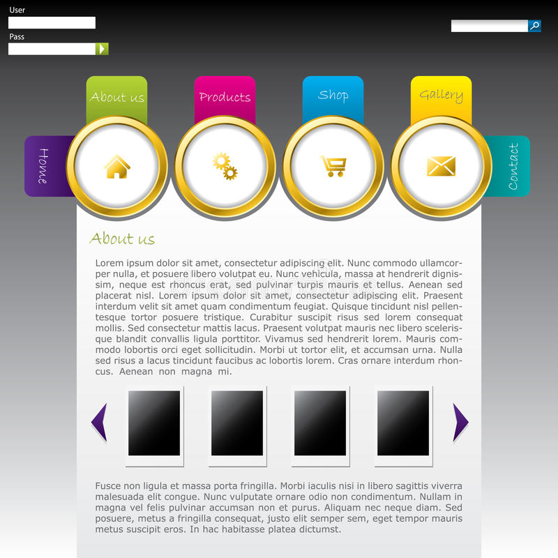 Website design with labeled rings