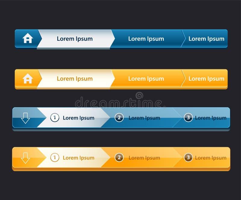 Website design menu navigation elements with icons set Navigation menu bars. Web Design Menu Navigation Bar Website Header Element Glossy royalty free illustration