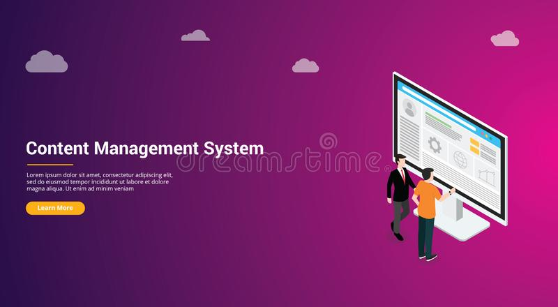 Website design page template landing ui ux cms content management system admin template to manage website content and data media. Vector illustration stock illustration