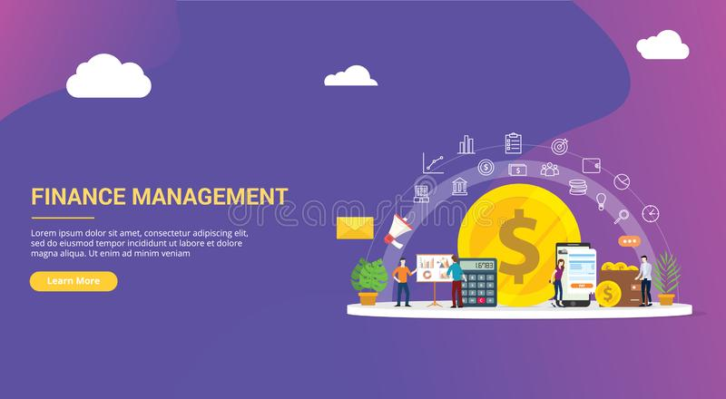 Website design page template landing ui ux for finance or financial management with team people working together to manage the. Business company corporate vector illustration