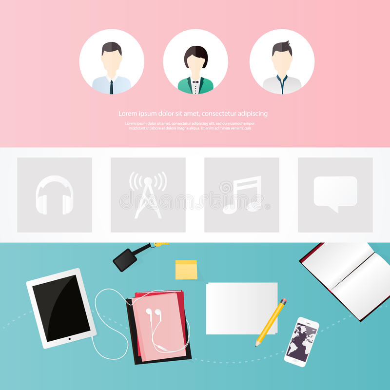 Website design template. All in one set for website design that royalty free illustration