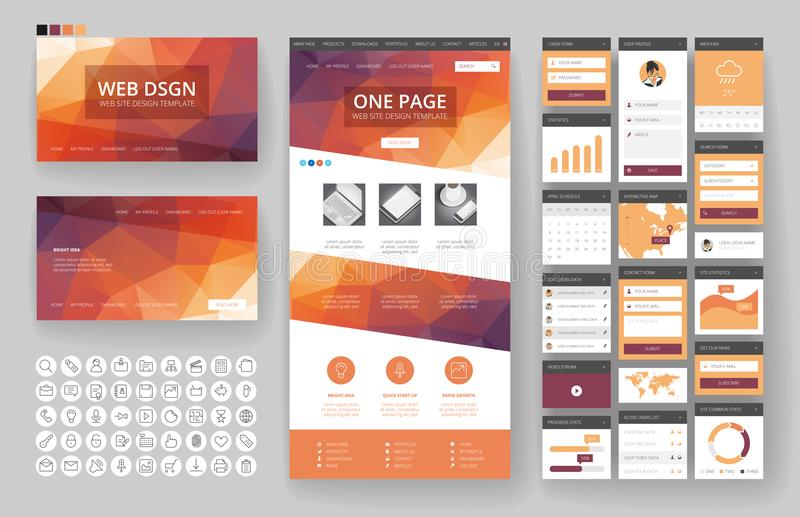 Website design template and interface elements vector illustration