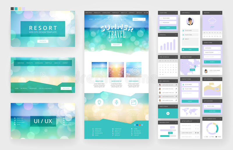 Website design template and interface elements. Website template, one page design, headers and interface elements. Travel agency, tropical summer resort vector illustration