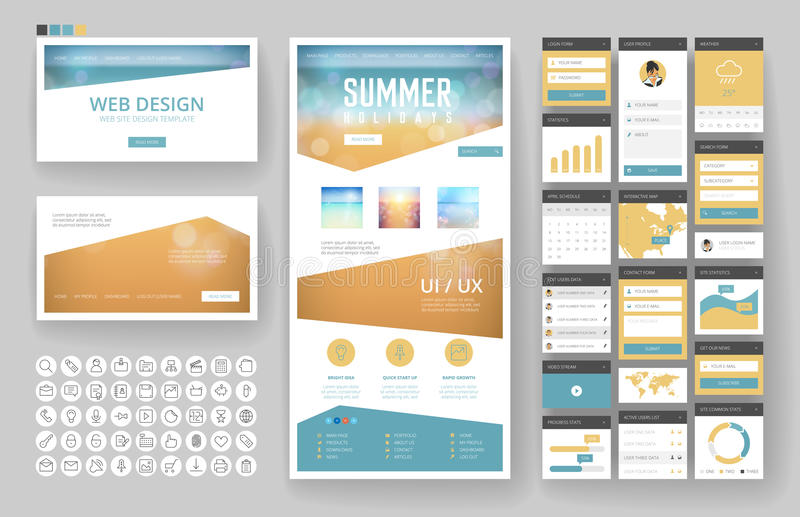 Website design template and interface elements. Website template, one page design, headers and interface elements. Travel agency, tropical summer resort royalty free illustration