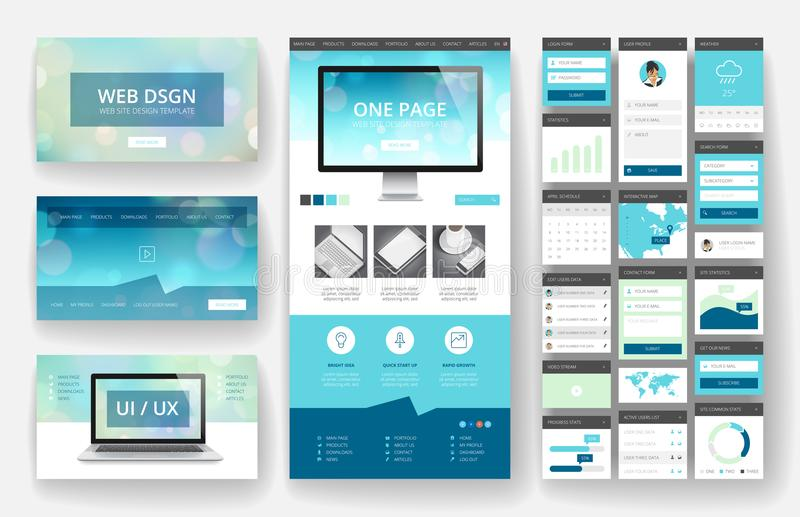 Website design template and interface elements. Website template, one page design, headers and interface elements. Bokeh defocused backgrounds royalty free illustration