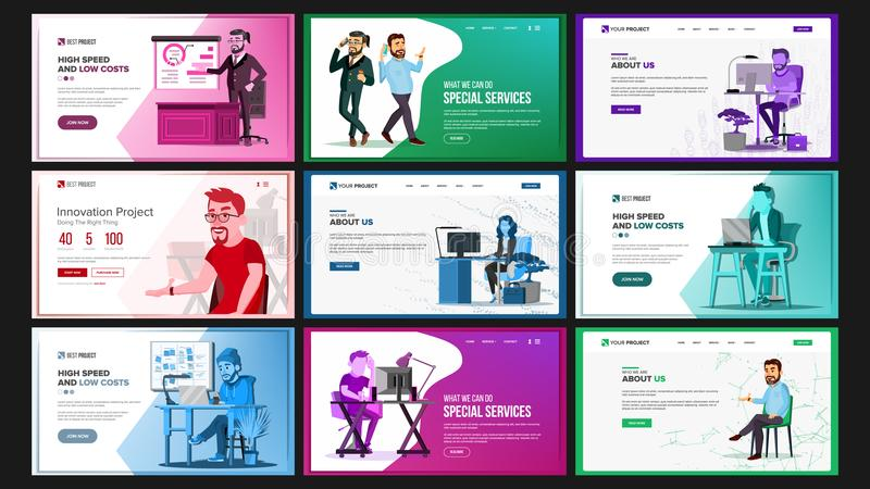 Website Design Template Set Vector. Business Landing. IT Technology. Modern Online Services Architecture. Landing Page vector illustration