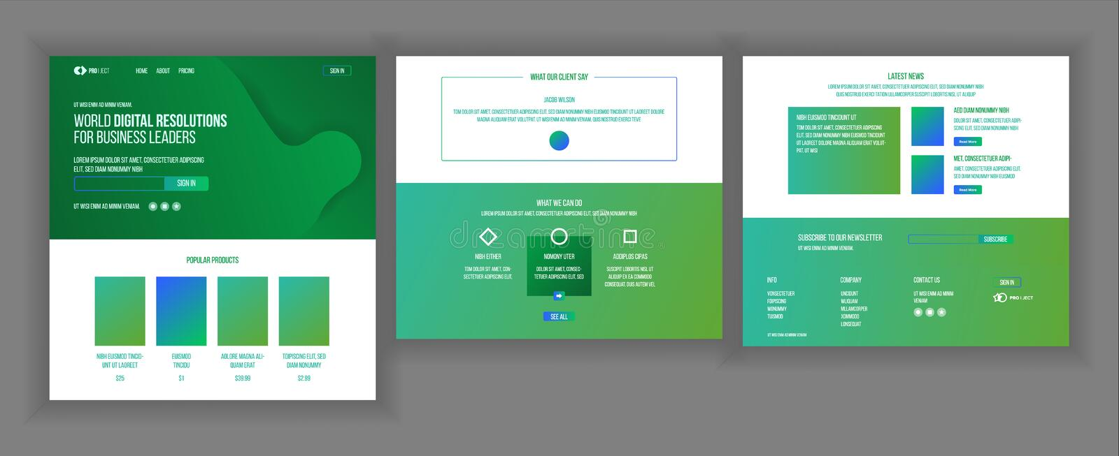 Website Design Template Vector. Business Interface. Landing Web Page. Professional Team. Monitoring And Optimization vector illustration