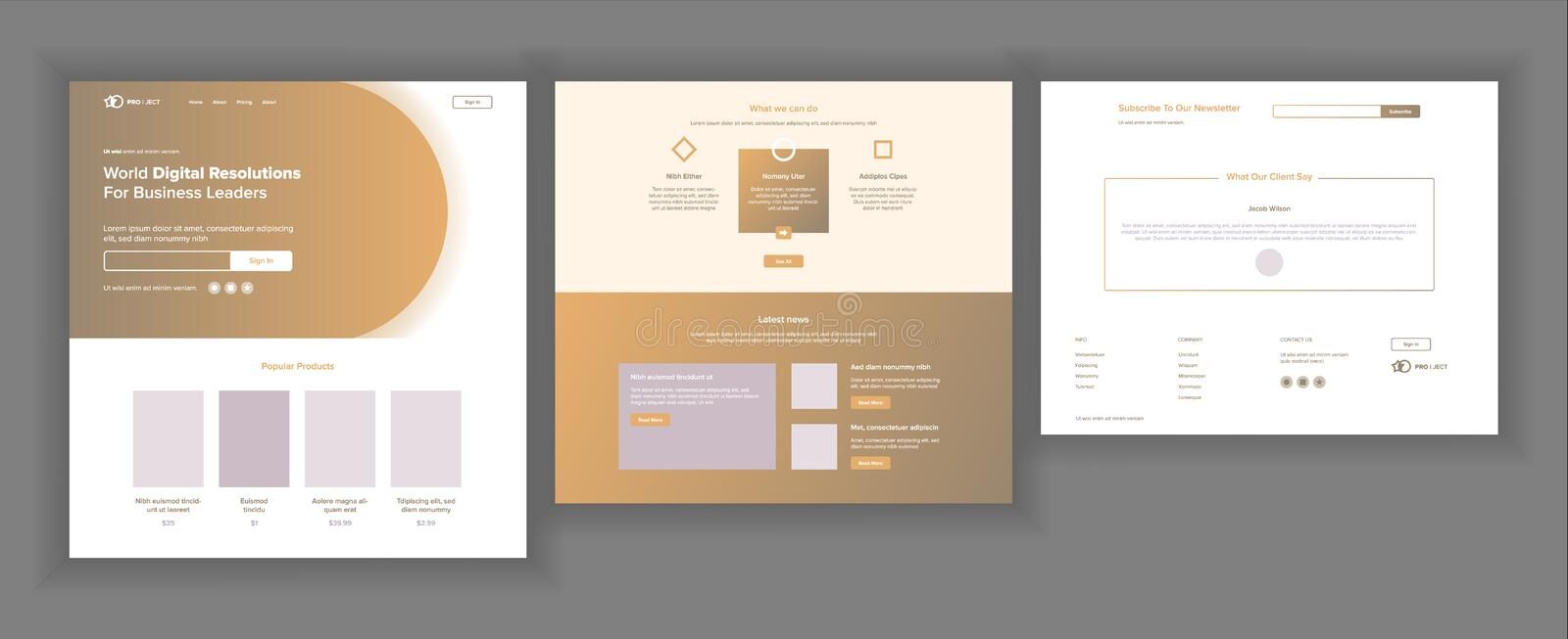 Website Design Template Vector. Business Interface. Landing Web Page. Professional Team. Monitoring And Optimization royalty free illustration