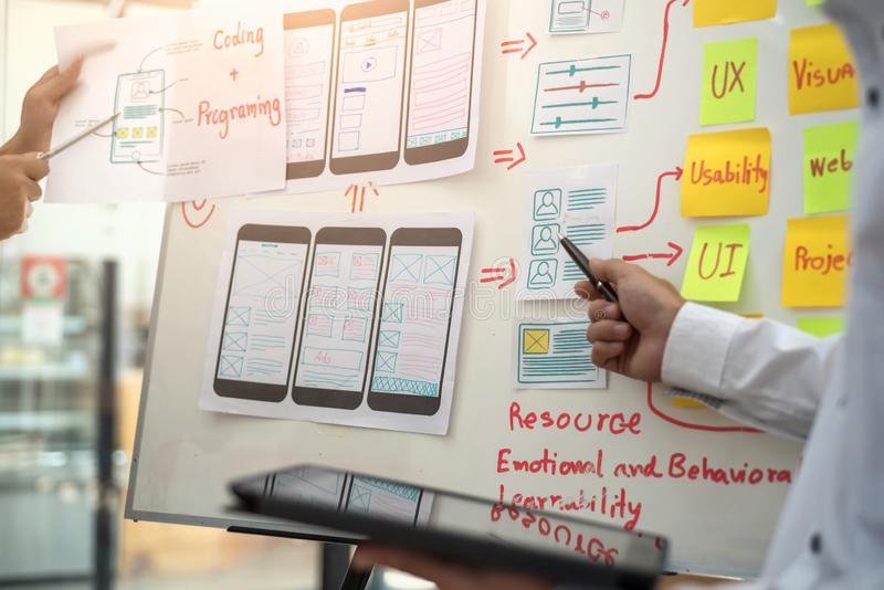Website designer development UI/UX desing about sketched notes wireframe layout mobile application project. User experience. Website designer development UI/UX royalty free stock photography