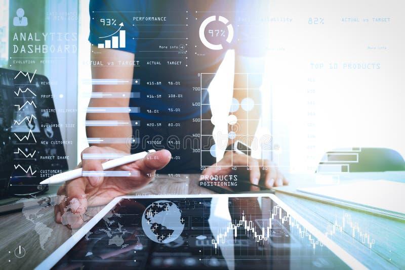 Website designer working digital tablet and smartphone and digit stock image