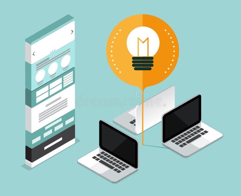 Website develop start up business. website mock up concept. thin stock illustration