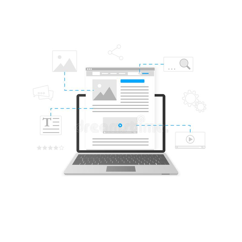 Website development. Blogging and content production concept. Business blogging service. Vector illustration royalty free illustration