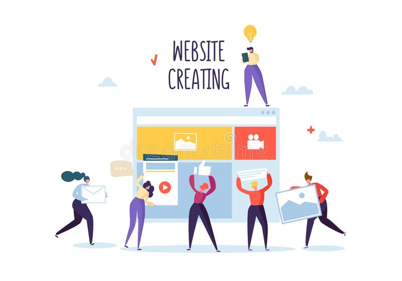 Website Development Concept. Flat People Characters Team Work Creating Web Page. User Interface Mobile Application. Vector illustration royalty free illustration