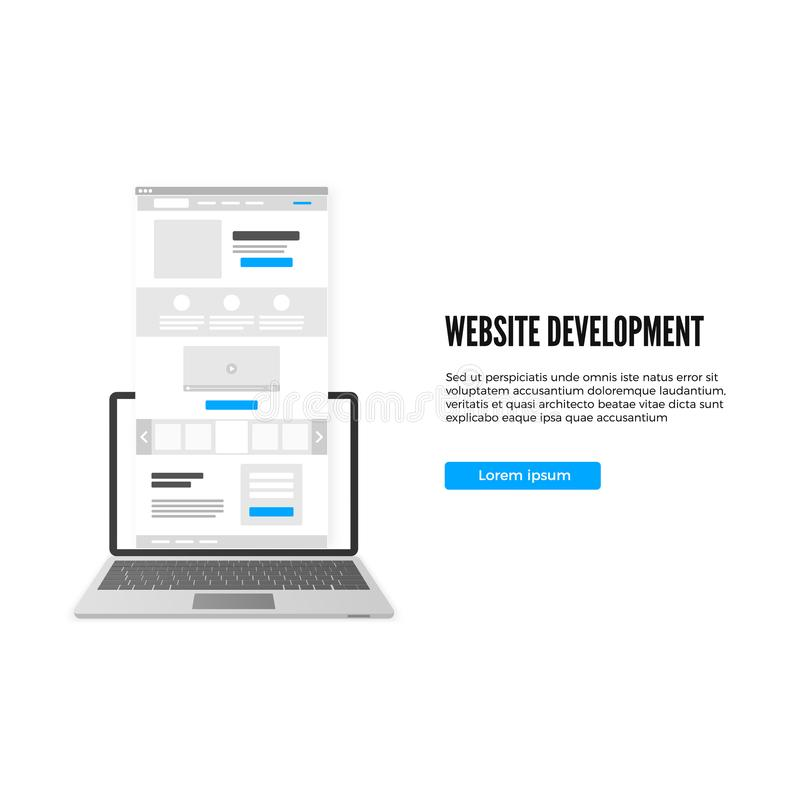 Website development concept. Landing page business template. Landing page draft with call to action button. Vector stock illustration
