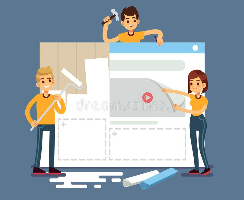 Website development with developers creating content. Web construction vector concept royalty free illustration