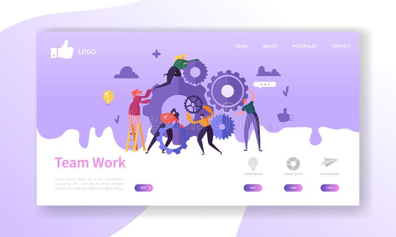 Website Development Landing Page Template. Mobile Application Layout with Flat Business People Running Gears. Team Work vector illustration