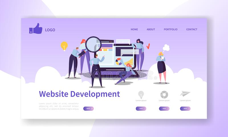 Website Development Landing Page Template. Mobile Application Layout with Flat People Characters and Laptop Easy to Edit. Website Development Landing Page royalty free illustration