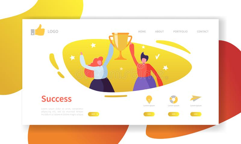 Website Development Landing Page Template. Mobile Application Layout with Flat People with Golden Prize Business Success vector illustration
