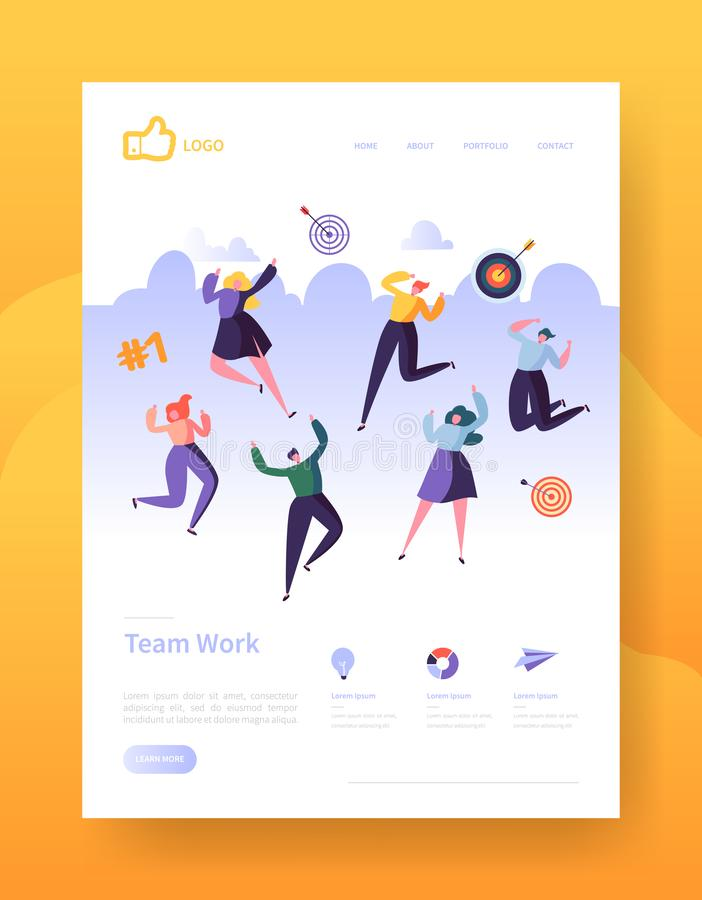 Website Development Landing Page Template Poster, Banner. Mobile Application Layout with Happy Flat People Characters vector illustration