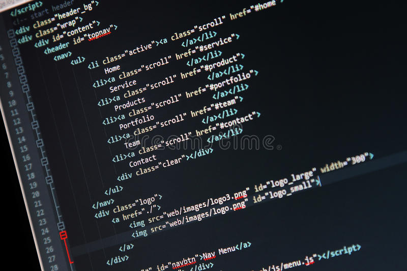Website development - programming code on computer screen. Code is my own property there is no risk of violations royalty free stock photos