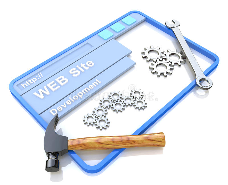 Website development. WWW with tools stock images