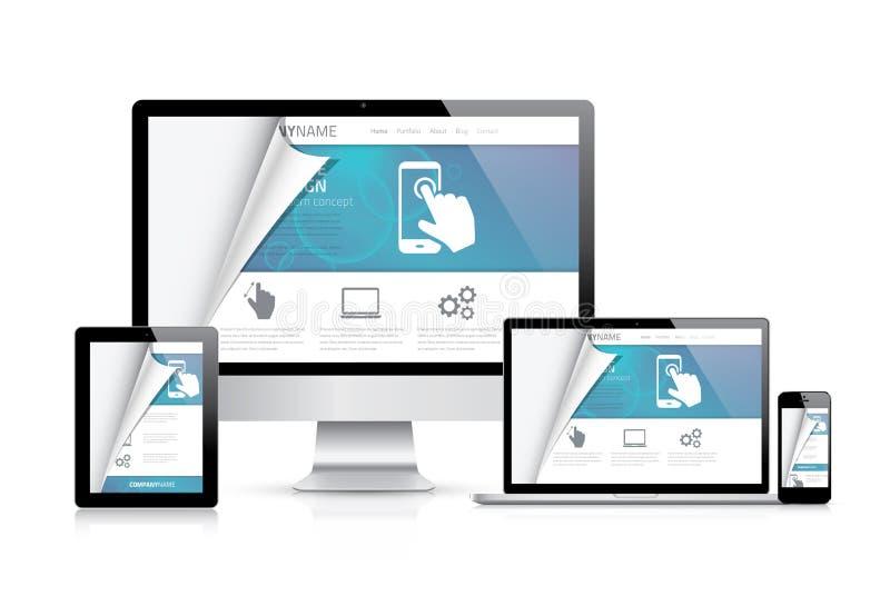Website, die Kodierungskonzept anredet Realistische vektorabbildung stock abbildung