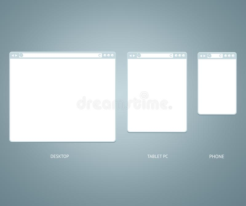 Website Different Devices Web Window Mobile Screen Set. Vector. Website Different Devices Web Window Mobile Screen Empty Template Mockup Various Types Set on a vector illustration