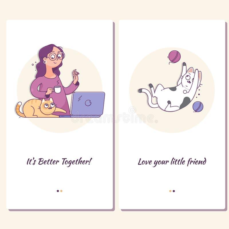 Website eller mobil applandningsida av lyckligt folk med deras husdjur Ung kvinna med den gulliga katten och bärbara datorn hemma vektor illustrationer