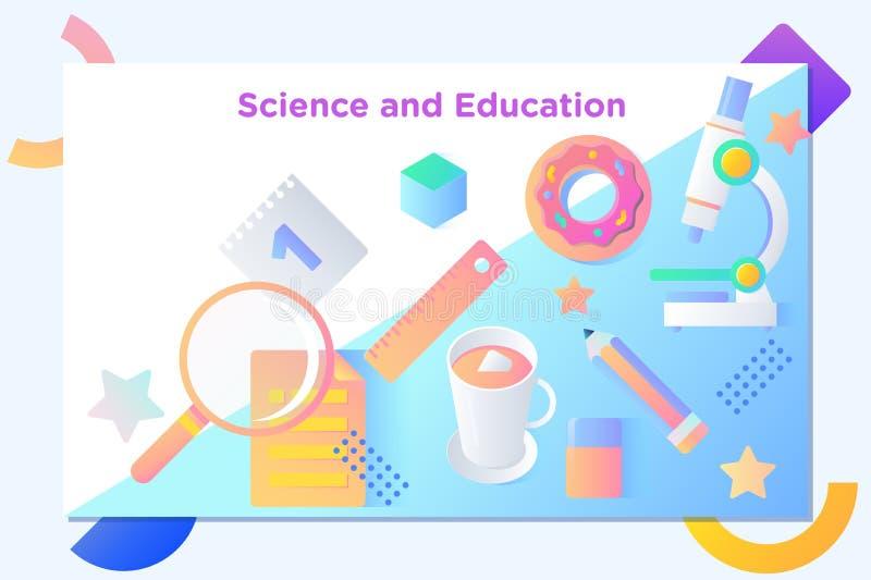 Website eller mobil applandningsida av vetenskap och utbildning stock illustrationer