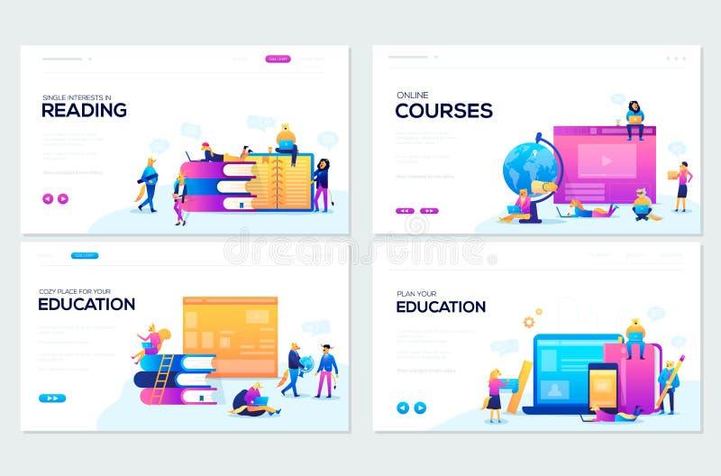 Website en mobiele de illustratieconcepten van de websiteontwikkeling Reeks webpaginaontwerpsjablonen voor online cursussen vector illustratie