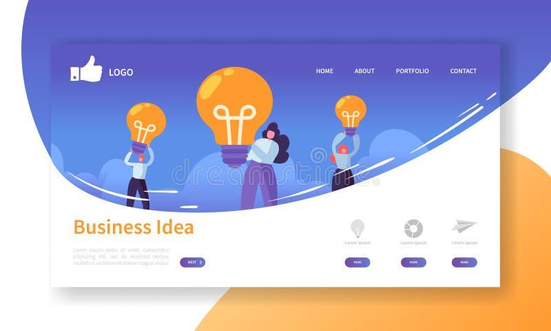 Website-Entwicklungs-Landungs-Seiten-Schablone Beweglicher Anwendungs-Plan mit den flachen Geschäftsleuten, die Glühlampen halten vektor abbildung