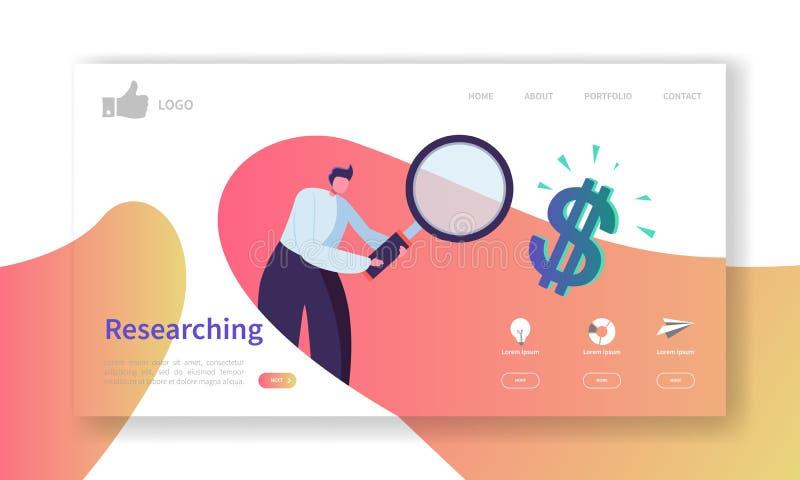 Website-Entwicklungs-Landungs-Seiten-Schablone Beweglicher Anwendungs-Plan mit flachem Geschäftsmann Searching Data untersuchung stock abbildung