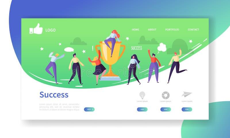 Website-Entwicklungs-Landungs-Seiten-Schablone Beweglicher Anwendungs-Plan mit flachen Leuten mit goldenem Prize Geschäftserfolg vektor abbildung