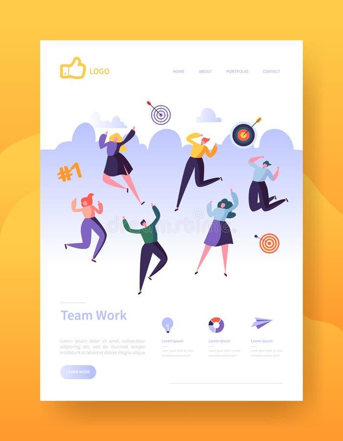 Website-Entwicklungs-Landungs-Seiten-Schablonen-Plakat, Fahne Beweglicher Anwendungs-Plan mit glücklichen flachen Leute-Charakter vektor abbildung